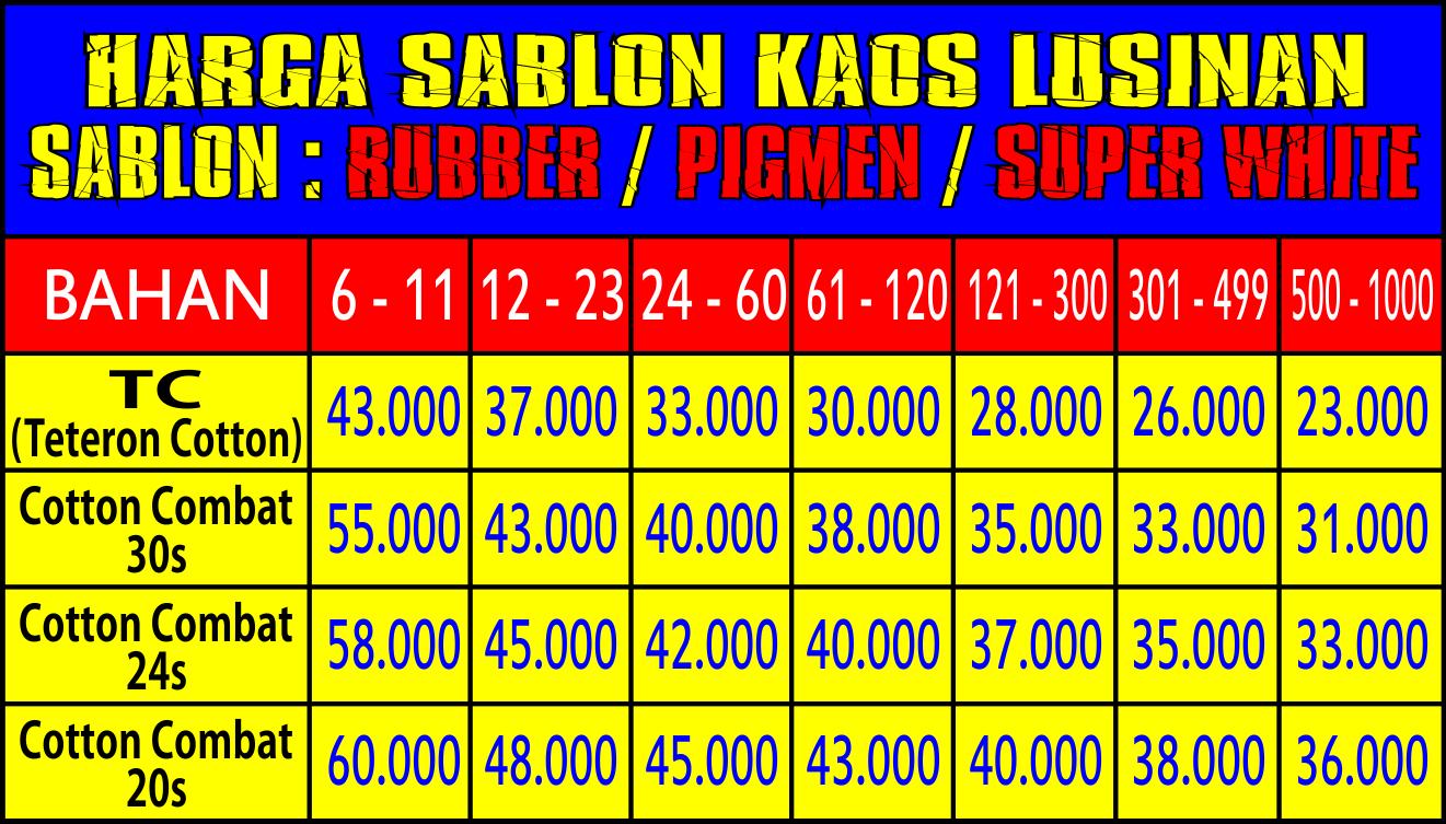 HARGA SABLON KAOS BANDUNG - Vendor Baju Bandung