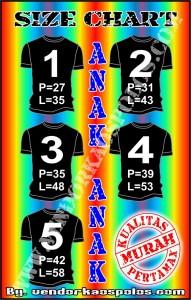 size chart anak vendor kaos polos bandung
